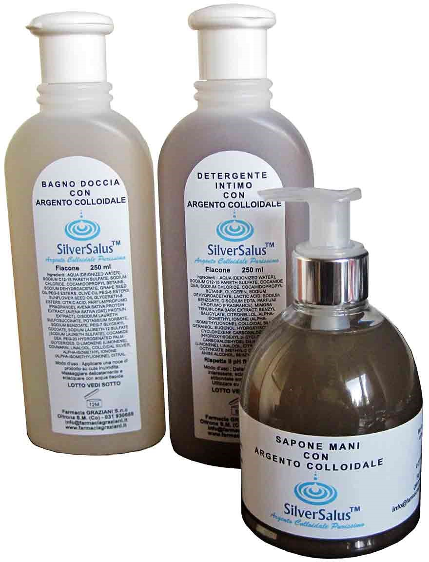 Cosmetici all'argento colloidale linea SilverSalus(TM)